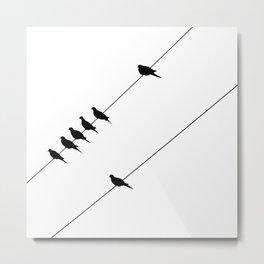 Birds on Wires- minimalist black and white Metal Print
