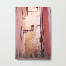 Pink Alley in Lisbon Metal Print