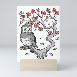 Owl on Sakura Cherry Blossom Tree Mini Art Print