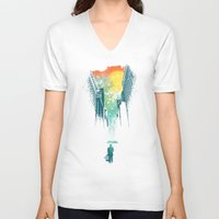 face V-neck T-shirts featuring I Want My Blue Sky by Picomodi