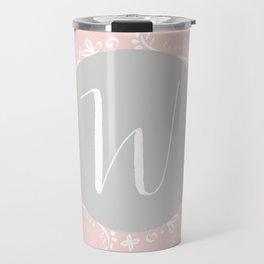 Garland Initial W - Grey Travel Mug