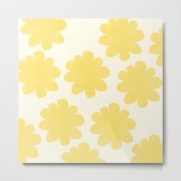 Yellow Flowers on Pale Yellow Metal Print