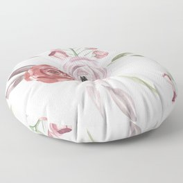 Vintage Floral Pattern Watercolor Floor Pillow