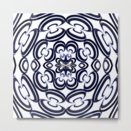 Pottery Swirly Blue Tile Pattern Metal Print