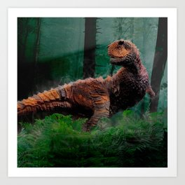 Carnotaurus Dinosaur Cretaceous Period Grass Trees Art Print