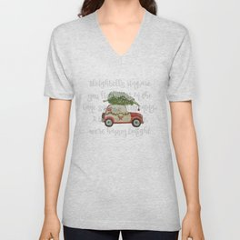 Vintage Christmas car with tree red Unisex V-Neck