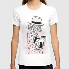 Casual young girl wearing hat and floral dress, clutch bag and a cup of coffee ready to hustle T-shirt