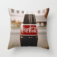coke Throw Pillows featuring Roadside coke by Vorona Photography