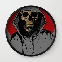 returns Wall Clocks featuring Skullboy Returns by Matthew Dunn