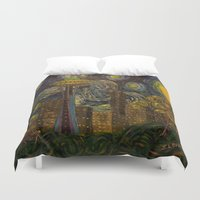 seahawks Duvet Covers featuring Dedication to Van Gogh: Seattle Starry Night by Jack Lepper