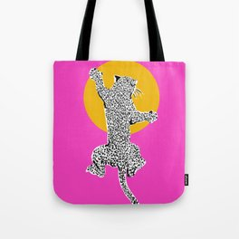 Big Cat Plays Ball with the Sun | Pink Tote Bag
