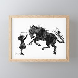 Girl and Unicorn Black and White Silhouette Framed Mini Art Print