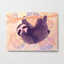 Playful sloth hanging in a colorful jungle Metal Print