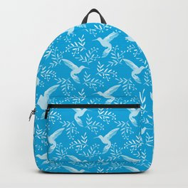 Pretty beautiful cute distressed hummingbirds, delicate little leaves blue pattern. Gift ideas Backpack