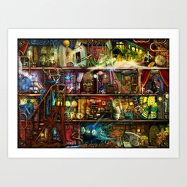 The Fantastic Voyage - a Steampunk Book Shelf Art Print