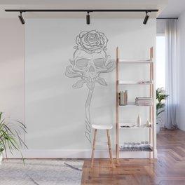 Skull rose white Wall Mural