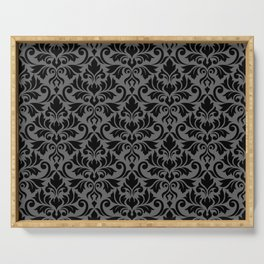 Flourish Damask Big Ptn Black on Gray Serving Tray
