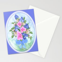 Glad and Iris Bouquet Oval on Blue Stationery Cards