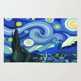 Tardis Art Starry Night Rug