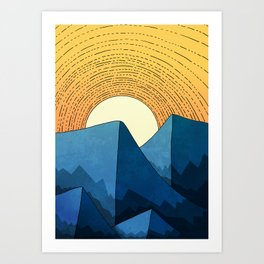 Blue summer mountains Art Print