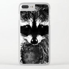 raccoon watercolor splatters black white Clear iPhone Case