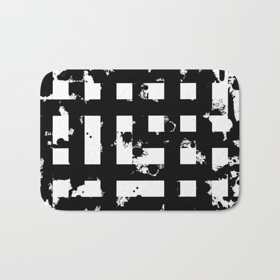 Splatter Hatch - Black and white, abstract hatched pattern Bath Mat