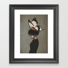 Woman With Butterfly Framed Art Print