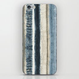 Distressed Blue and White Watercolor Stripe iPhone Skin