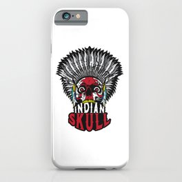 Indian Skull Warrior Is Ready For Battle With His Feathered Headdress T-shirt Design Fighter Native iPhone Case