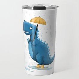 Dino in the Rain Illustration Travel Mug