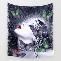 women Wall Tapestries featuring Women and butterfly dream by Eduardo Doreni