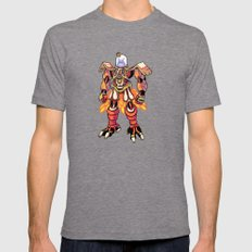 Mecha Owl LARGE Tri-Grey Mens Fitted Tee