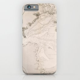 Vintage Map Print - Admiralty chart No 2726 Manukau Harbour, New Zealand, 1863 iPhone Case