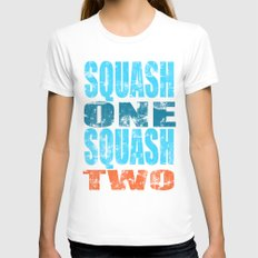 SQUASH ONE SQUASH TWO Womens Fitted Tee SMALL White