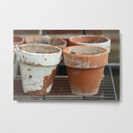 Flower Pots with Texture Metal Print