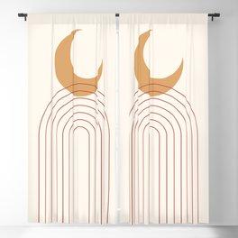 Mid Century Modern Geometric 49 in Terracotta Gold Beige Blackout Curtain