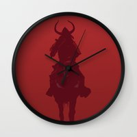 war Wall Clocks featuring War by Matthew Bartlett