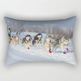 Husky dogs  and alaskan malamute at race in winter Rectangular Pillow