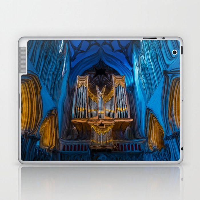 Blue Cathedral Gold Pipe Organ Laptop & iPad Skin by dlmjolsness