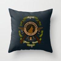 bucky barnes Throw Pillows featuring Sgt Bucky Barnes (green) by emptystarships