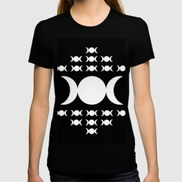 Triple Moon Goddess - White on Black T-shirt