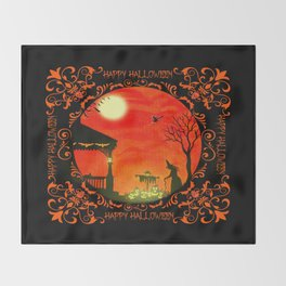 """Heading Home"" Halloween art print Throw Blanket"
