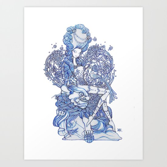 Starry Pin up 'February' Art Print