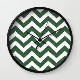 Hunter green - green color - Zigzag Chevron Pattern Wall Clock