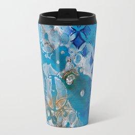 Blue Abstract with Diamond Travel Mug