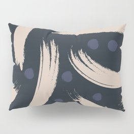 Paint Strokes Pattern - Navy, Blueberry, and Light Sand Colours Pillow Sham