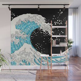 The Great Wave (night version) Wall Mural