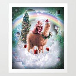 Christmas Rainbow Llama - Cat Llama Art Print
