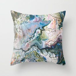 Sea and Land Acrylic Abstract Painting Throw Pillow