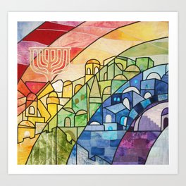 Jerusalem Rainbow Art Print